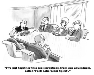 Business cartoon about team spirit.