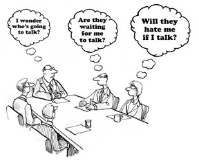 Business cartoon about waiting to speak in a meeting.