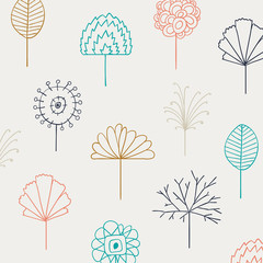 Vector Illustration of a Background with Abstract Floral Line Drawing Design Elements