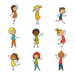 Vector Illustration of Hand Drawn Happy Little Children
