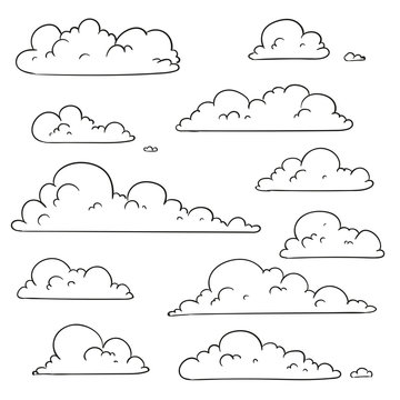 Vector Illustration of Abstract Hand Drawn Doodle Clouds