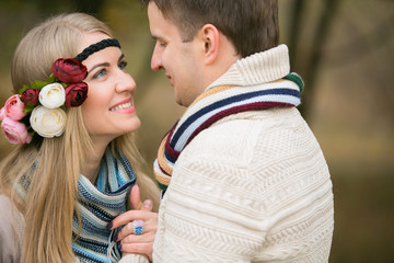 Autumn wedding in boho style. Loving couple, man and woman.