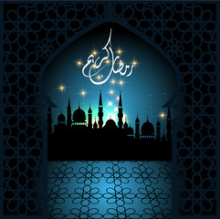 background with shiny arabic lantern of golden floral design, background for holy moth of muslim community Ramadan Kareem