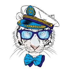 Tiger in the captain's cap. Cute tiger. Vector .