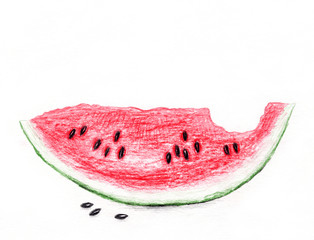 Slice of watermelon/Pencil drawing of watermelon slices