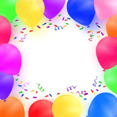 Celebrating background with colorful balloons and confetti. Vector illustration.
