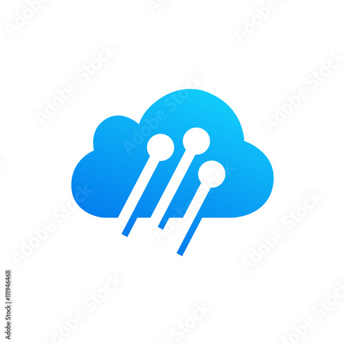 cloud computing and storage vector logo. technology design