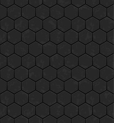 Grey hexagons of metal, stone. Seamless vector texture. Technology seamless pattern.Vector geometric dark background.