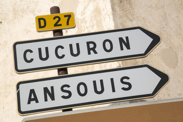 Road Sign to Cucuron and Ansouis from Lourmarin