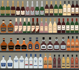 Supermarket shelves with alcohol. Vector background. Seamless pattern.
