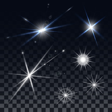 Set of vector stars on a black background. The effect of the explosion and the lights, reflections and glare. Design elements for the design of banners, Christmas cards, flyers.