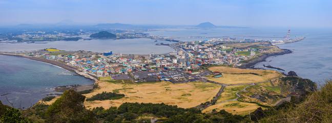 Panorama view from Seongsan Ilchulbong, Jeju, South Korea