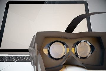 Laptop and virtual reality glasses