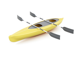 Yellow kayak with paddles isolated on a white background. 3d rendering.