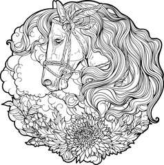 Portrait of a horse with clouds and flowers.