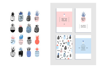Collection of cute pineapples with templates of cards and poster