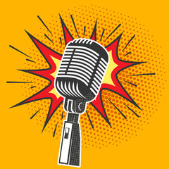 Poster with old microphone in pop art style. Design element in v