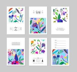 Set of creative universal floral cards. Wedding, anniversary, birthday. Vector