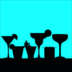 cocktail silhouettes in a row