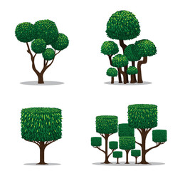 Trees isolated from vector and collection.
