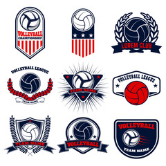 Set of volleyball labels and emblems. Design elements for logo,