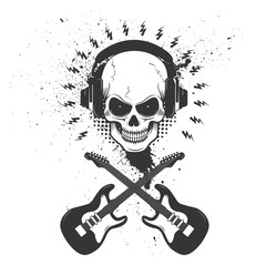 Skull in headphones with two crossing guitars on grunge backgrou