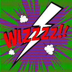 Wizz! Comic style phrase on colorful background. Vector illustra