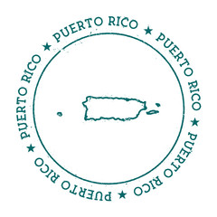 Puerto Rico vector map. Retro vintage insignia with country map. Distressed visa stamp with Puerto Rico text wrapped around a circle and stars. USA state map vector illustration.