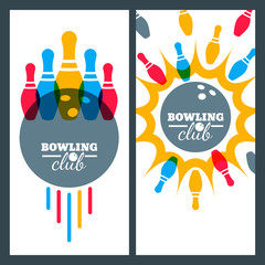 Bowling backgrounds and isolated elements for banner, poster, flyer, label design. Abstract vector illustration of bowling game. Colorful bowling ball, bowling pins.
