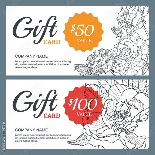 Vector Gift Voucher Template With Roses Flowers Business Floral
