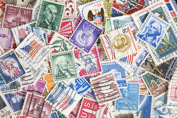Different postage stamps from United States