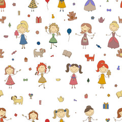 Little girls playing vector. Cartoon drawing of children. Daughter and mother. Girls seamless pattern background.