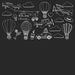 Vector doodle set of travel and transportation Car plane helicopter ballon ship