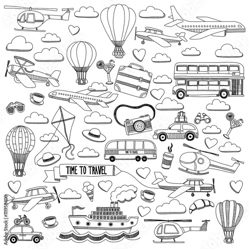 Quot Vector Doodle Set Of Travel And Transportation Car Plane