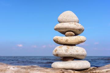 Balance of white stones