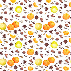 Watercolor winter spices and fruits - apple, mandarin. Repeating pattern