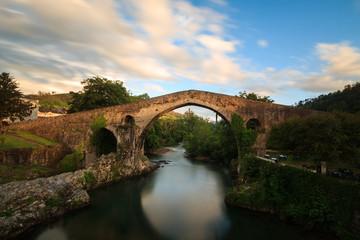 Old Roman stone bridge in Cangas de Onis, Asturias, Spain