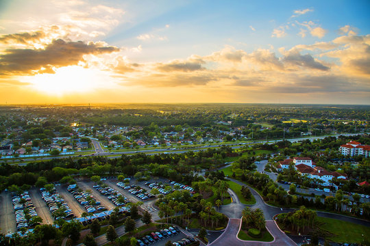 Gorgeous sunset view on the beautiful city of Orlando from above.