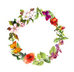 Floral wreath with empty space for your text. Summer flowers, butterflies.