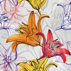 Tuinposter Abstract bloemen abstract floral blooming lilies background texture hand drawn vector illustration sketch