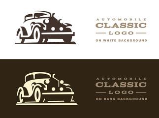 Classic car illustration, logo design