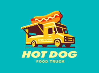 Hot dog. Food Truck concept . Vector illustration