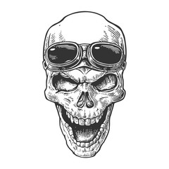 Skull smiling with glasses for motorcycle on forehead