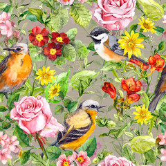 Printed roller blinds Parrot Flowers, meadow grass, birds. Vintage seamless floral pattern. Watercolor