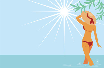 beautiful tanned lady in a hat standing in the sea looking at the sun. Background