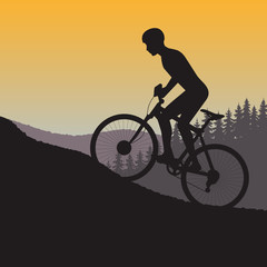 cycle races in mountains silhouette on a background nature