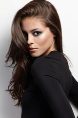 Studio photoshoot female model with smokey style makeup