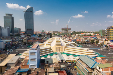 Daylight skyline of Phnom Penh center district with Central Mark