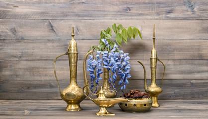 Arabic jug vase lamp tea pot. Fruits and flowers Food and drink