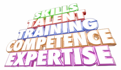 Skills Training Experience Expertise Words 3d Illustration